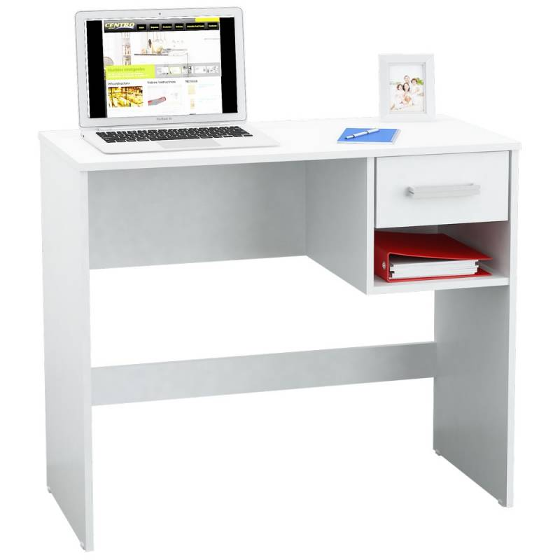 Escritorio mesa pc computadora moderno 1 caj n blanco for Muebles para zapatos en melamina