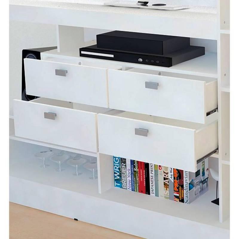Centro de entretenimiento mueble tv blanco icbc store for Mueble modular blanco
