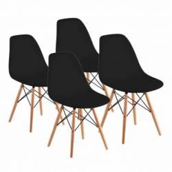 Combo eames 4 sillas patas madera negro