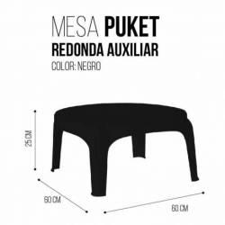 Mesa redonda baja plastica negra