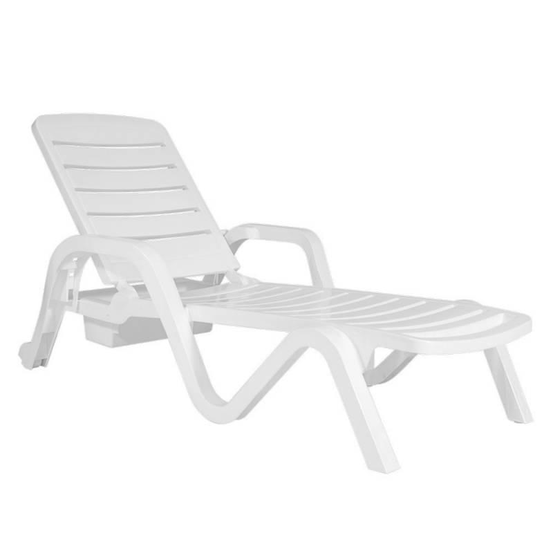 2 reposeras 5 posiciones y mesa blanca icbc store