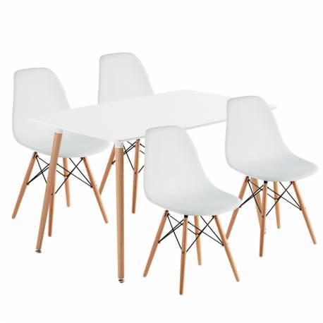 juego mesa rectangular 4 silla eames bl - Eames Silla