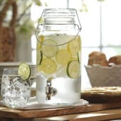 Dispenser de 4L + 12 Vasos bombé de vidrio