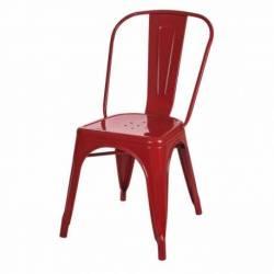 Silla Tolix Diseño Apilable De Metal Resistente Roja