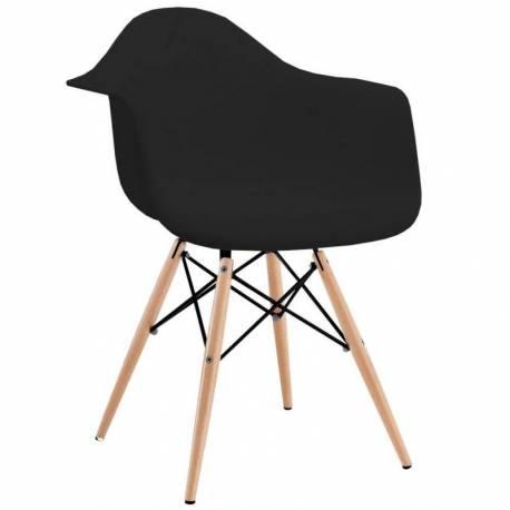 silla silln eames con apoyabrazos patas madera negro - Sillon Eames