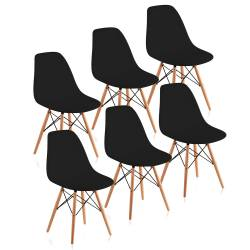 6 sillas dsw eames madera negro
