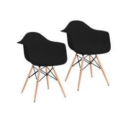 2 sillones eames apoyabrazos madera negro
