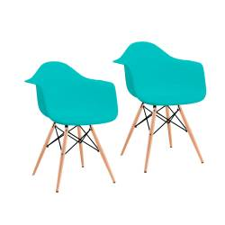 2 sillones eamesapoyabrazosmadera verde