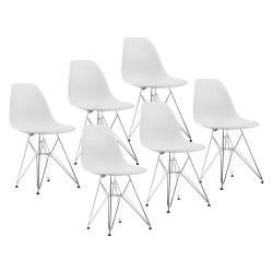 6 sillas diseño dsw eamescromadas blanco