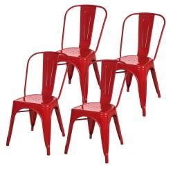 4 sillas tolix metálicas diseño rojo
