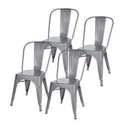 4 sillas tolix metálicas diseño gris