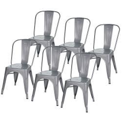 6 sillas tolix metálicas diseño gris