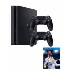 Ps4 Playstation 4 Slim de un TERA + 2 Joystick tipo V2 + Juego FIFA 18 físico, Garantía 1 año