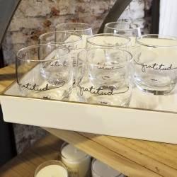 Juego De 6 Vasos De Vidrio Con Inscripción Palabra Gratitud