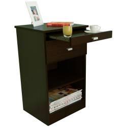 Mesa de luz moderna con desayunador + 1 cajón + 1 estante